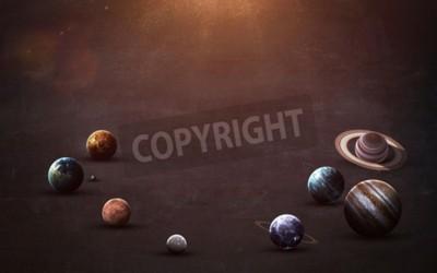 Fototapeta obrazy wysokiej rozdzielczości prezentuje planety Układu Słonecznego na tablicy szkolnej.
