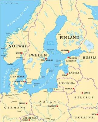Fototapeta Obszar Morza Bałtyckiego Mapa polityczna