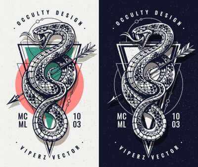 Fototapeta Occult Design With Snake and Geometrics