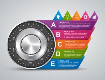 Fototapeta Ochrona informacji. Czenie bezpieczne blokady infografiki Design Concept.