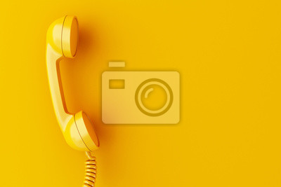 Fototapeta Odbiornik telefonu 3d na żółtym tle.