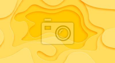 Fototapeta Odcienie żółtego tła wycina się z papieru. Miejsce na ogłoszenie ogłoszenia. sztuka abstrakcyjna rzeźbienia. ilustracja