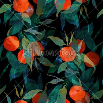Fototapeta odciska subtropical drzewo mandarynki z owocami i liśćmi. ręcznie malowane wzór. cyfrowy i akwarela. tło dla wystroju i wzornictwa tekstylnego. Tapeta. mieszana ramka multimediów