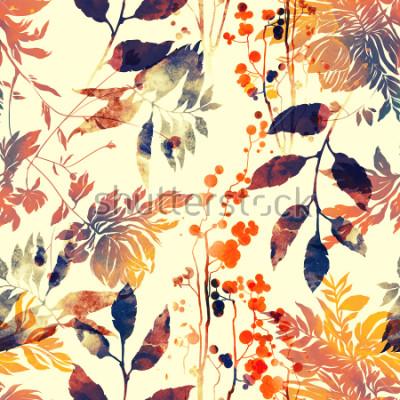 Fototapeta odciski kwiatów i liści wymieszać powtórzyć się. akwarela i cyfrowy ręcznie słychać obraz. grafika mieszane media