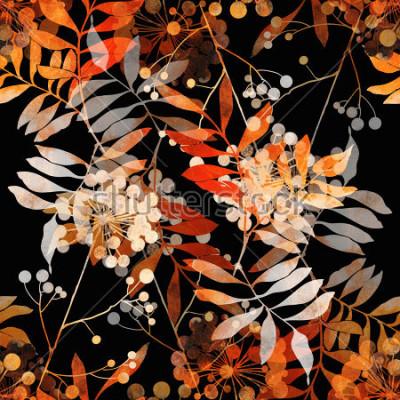 Fototapeta odciski tropikalnych kwiatów i liści. ręcznie malowane wzór. cyfrowy rysunek i akwarela tekstury. tło dla wystroju i wzornictwa tekstylnego. tapeta botaniczna. różne środki przekazu. kwiatowy rama