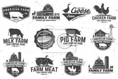 Fototapeta Odznaka lub etykieta American Farm. Ilustracji wektorowych.