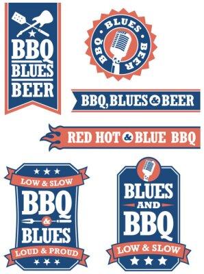 Fototapeta Odznaki grill i Blues