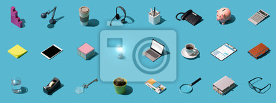 Fototapeta Office and business objects background