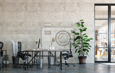 Fototapeta Office interior in loft, industrial style, 3d render