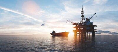 Fototapeta Oil platform on the ocean. Offshore drilling for gas and petroleum