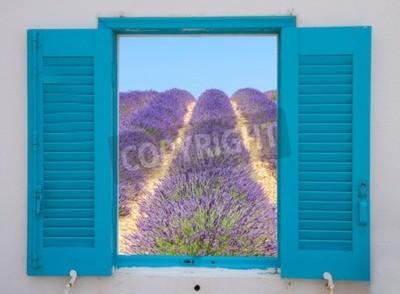 Fototapeta Okno Provence z widokiem kwiatów lawendy pola, Francja