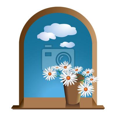 Okno z kwiatami stokrotki i niebo z chmurami