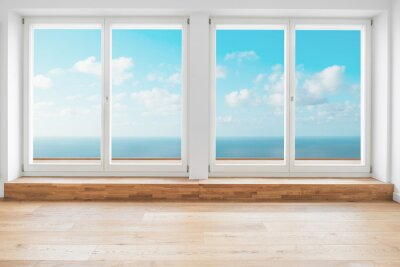 Fototapeta okno z widokiem na ocean w nowoczesnym pokoju apartamentowym - penthouse z tarasem z widokiem na ocean