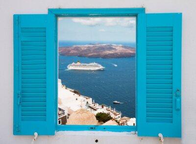 Fototapeta Okno z widokiem na wulkan Santorini