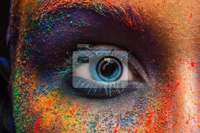 Fototapeta Oko wzoru z kolorowym makijażu sztuki, makro