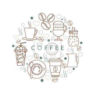"""Okrąg ikon z """"kawą"""". Koncepcja z różnych elementów kawy. Ilustracja dla koszulek, banerów, ulotek i innych typów projektów biznesowych."""