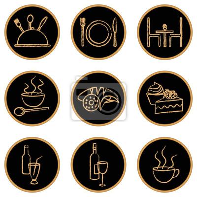 Okrągłe restauracji podobne ikony