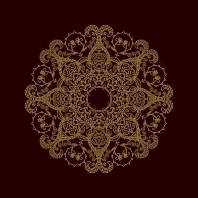 Fototapeta Okrągły ornament. Mandala. Czarno-złoty wektor element dekoracyjny.