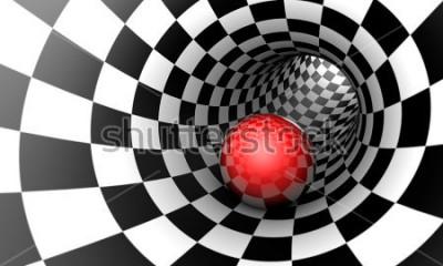Fototapeta Określenie z góry. Czerwona piłka w tunelu szachowym (koncepcja obrazu). Przestrzeń i czas. Ilustracja 3D. Dostępne w wysokiej rozdzielczości i kilku rozmiarach, aby dopasować je do potrzeb twojego pr