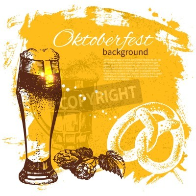 Fototapeta Oktoberfest rocznika tle. Ręcznie rysowane ilustracji. Splash blob retro z piwem