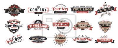 Fototapeta Old badges. Vintage sign, retro premium badge and logo emblem frame vector set