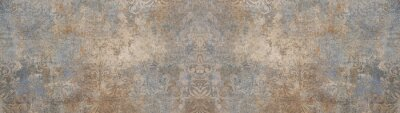 Fototapeta Old brown gray vintage shabby patchwork motif tiles stone concrete cement wall texture background banner
