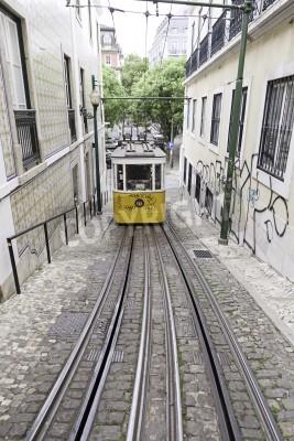 Fototapeta Old Lisbon tram, detail from old public transport, art and tourism monument, Portugal