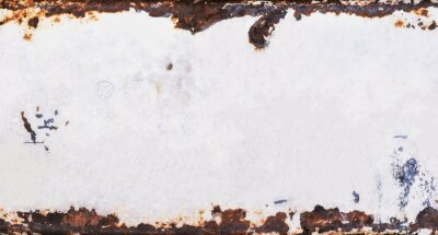 Fototapeta Old metal background with grunge texture and rusted vintage border, white peeling paint and brown grungy rust