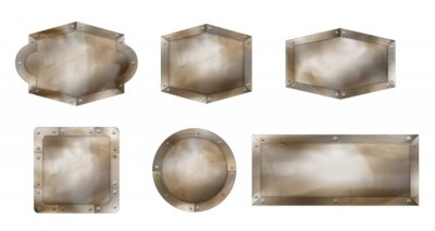 Fototapeta Old metal signs different shapes, rusty boards with steel frame and screws. Vector realistic set of blank iron signboards, advertising banners with rivets isolated on white background