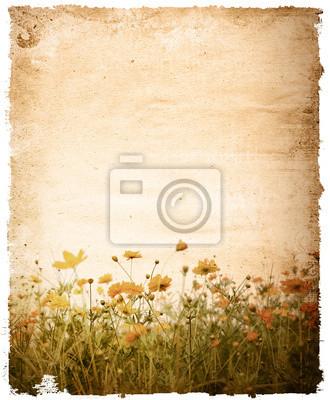 old paper flower - z miejsca dla tekstu lub obrazu