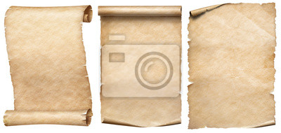Fototapeta Old paper or parchments collection isolated on white