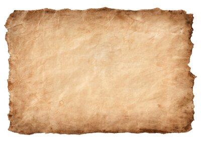 Fototapeta old parchment paper sheet vintage aged or texture isolated on white background