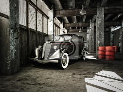 Fototapeta oldtimer in einer alten fabrikhalle