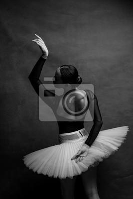 Fototapeta one ballerina dancing on a retro background