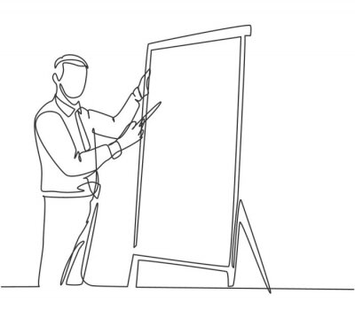 Fototapeta One continuous line drawing of young manager writing business success formula on flip chart and share it to audience. Business training concept single line draw design vector illustration
