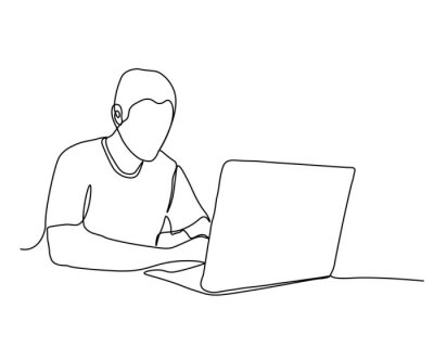 Fototapeta One line drawing of a man working with a laptop at the table. Trendy one line draw design graphic vector illustration.