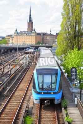 Fototapeta Onground część linii metra w Sztokholmie w Szwecji