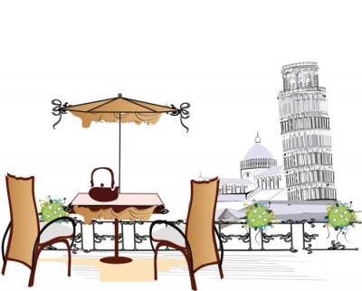 Fototapeta open-air cafe w Pizie