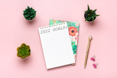 Fototapeta open notepad with text Goals 2022 goals, succulents, golden pen on pink background, spiral notebook on table Business, planning, education concept
