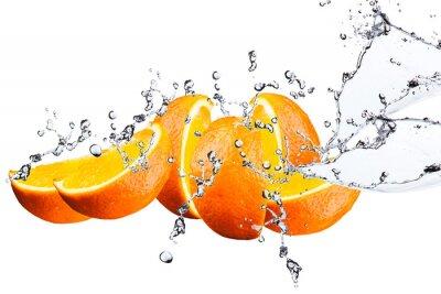 Fototapeta Orange fruits and Splashing water