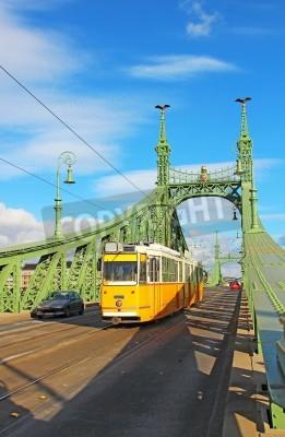 Fototapeta Orange tram on the Liberty bridge over Danube river in Budapest, Hungary