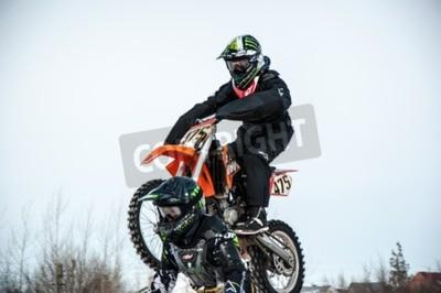 Fototapeta Orenburg, regionu Orenburg, Rosja - 10 marca 2013: Juniorzy rywalizować w zimie Motocross