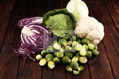 organic cabbage heads. Antioxidant balanced diet eating with red cabbage, white cabbage and savoy. cauliflower