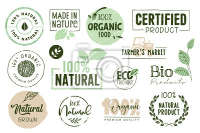 Fototapeta Organic food, farm fresh and natural products labels and elements collection. Vector illustration for food market, e-commerce, restaurant, healthy life and premium quality food and drink promotion.