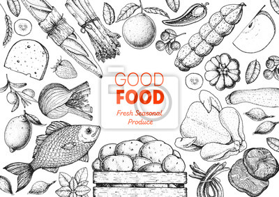 Fototapeta Organic food illustration. Farmers market design elements. Hand drawn sketch. Various food frame. Good food store concept.