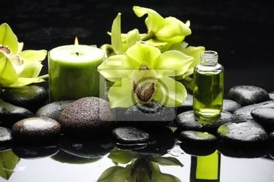 Oriental spa z orchidei, świec i kamyki