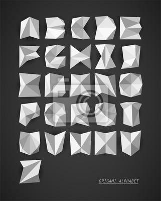 Origami wektor alfabet
