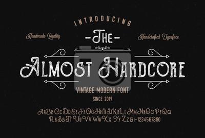 Fototapeta Original Handmade Textured Font Duo. Retro Typeface. Vector Illustration.