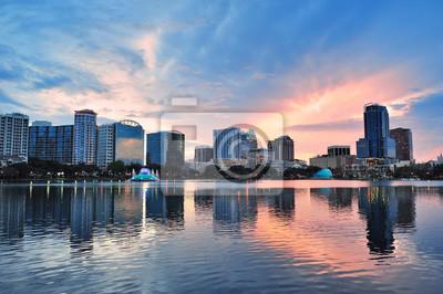 Orlando sunset over Lake Eola