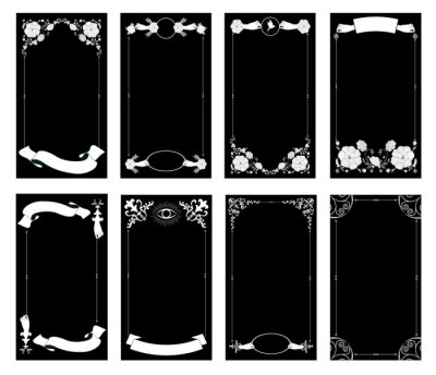 Fototapeta Ornamental retro style frames, banners for text and blank space for tarot cards, invitations, weddings, celebrations.